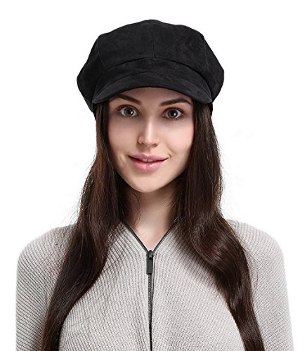 La Vogue Newsboy Cabbie Beret Cap for Women Beret Visor Bill Hat Black
