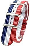 [2PiS] ベルト交換簡単 NATO 腕時計 時計 ナイロン 替えバンド 替えベルト 交換マニュアル付 ( トリコロール ネイビー・ホワイト・レッド : 20mm ) 2-1-20