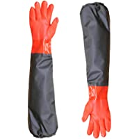 Long Working Durable Waterproof PVC Knitted Gloves Fishing Operation Resistant Garden Gloves Agricultural Gloves-Large Gloves (1 Pair)