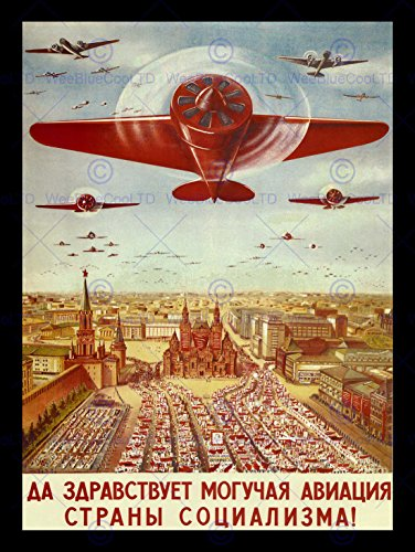 POLITICAL MILITARY PROPAGANDA SOVIET UNION AIRFORCE COMMUNIST POSTER ART 1802PY (Communist Propaganda Poster)