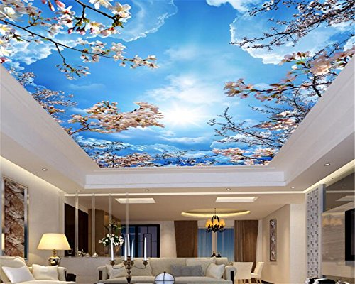 Mznm Custom 3D Blue sky white clouds cherry ceiling roof Murals Wallpaper Living Room 3d wallpaper Home decoration (400 Wood Cherry)