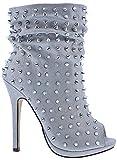 Liliana Maxim-19 Platform Stiletto High Heel Open Toe Spikes Studs Slouchy Scrunch Boot