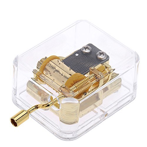 Helen Zora 18 note Acrylic Clear Gold Hand Cranked Gurdy Musical Mechanism Music Box (You are my sunshine)