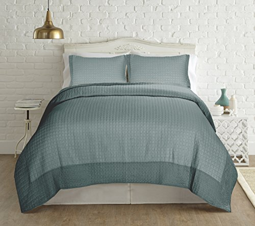 Amrapur Overseas | 3-Piece 100% Cotton Quilt Set with Velvet Border (Teal, Queen)