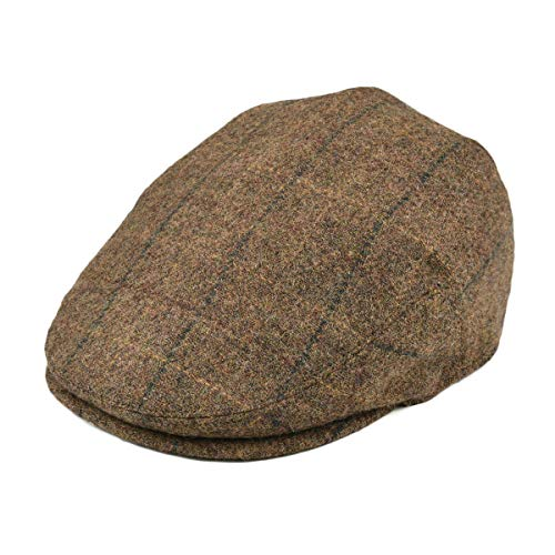 (BOTVELA Men's 100% Wool Flat Cap Classic Irish Ivy Newsboy Hat (Brown, S))