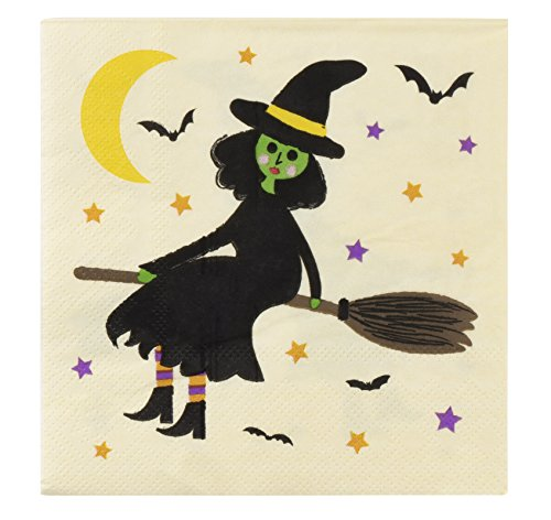 Cocktail Napkins - 100-Pack Luncheon Napkins, Disposable Paper Napkins Halloween Party Supplies, 3-Ply, Witch on a Broom Design, Unfolded 10 x 10 Inches, Folded 5 x 5 Inches