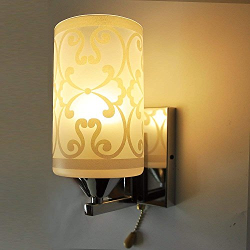 (Elitlife Elegant style Modern Wall Light Lamp Pattern Indoor energy saving for Bedside Lamp/Stair Lamp/Wall Sconce/Living Room witn Pull line switch & 3W light bulb (Warm White))