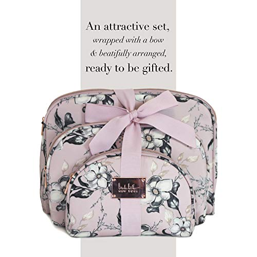 Nicole Miller 3 Pc Cosmetic Bag Set, Purse Size Makeup Bag for Women, Toiletry Travel Bag, Makeup Organizer, Cosmetic Bag for Girls Zippered Pouch Set, Large, Medium, Small (Pale Pink Floral)