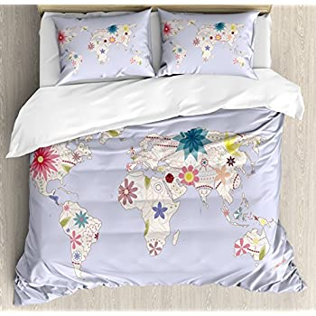 Amazon watercolor duvet cover set queen size by ambesonne floral world map duvet cover set queen size by ambesonne retro style map with pastel gumiabroncs Images