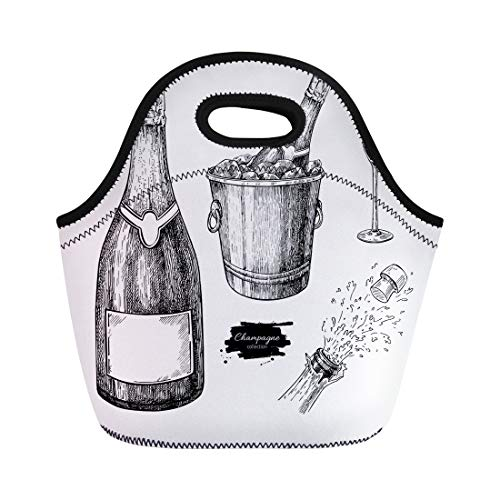 Semtomn Neoprene Lunch Tote Bag Champagne Glass Bottle Ice Bucket and Explosion Alcohol Drink Reusable Cooler Bags Insulated Thermal Picnic Handbag for Travel,School,Outdoors,Work
