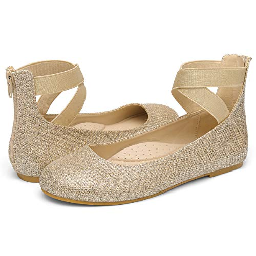 VILIYA Women's Ballet Flats - Elastic Crossing Straps Round Toe Slip-on Shoes Gold 7.5 -