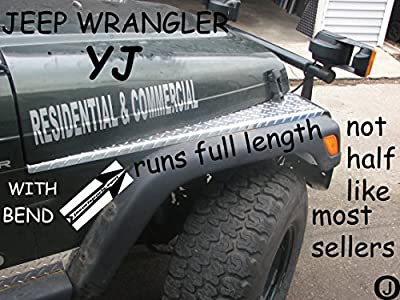 JEEP wrangler yj DIAMOND PLATE FULL TOP FENDER COVERS WITH BEND