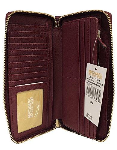 Michael Kors Leather Jet Set Travel Continental Zip Around Wallet Wristlet (Merlot) by Michael Kors (Image #1)