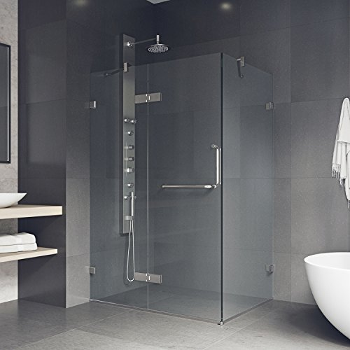 Silver Pivot Shower Door - VIGO 32 x 48 Inch Frameless Rectangular Hinged-Pivot Shower Door Enclosure with Tempered Glass, Magnetic Waterproof Seal Strip and 304 Stainless Steel Hardware - Brushed Nickel Finish