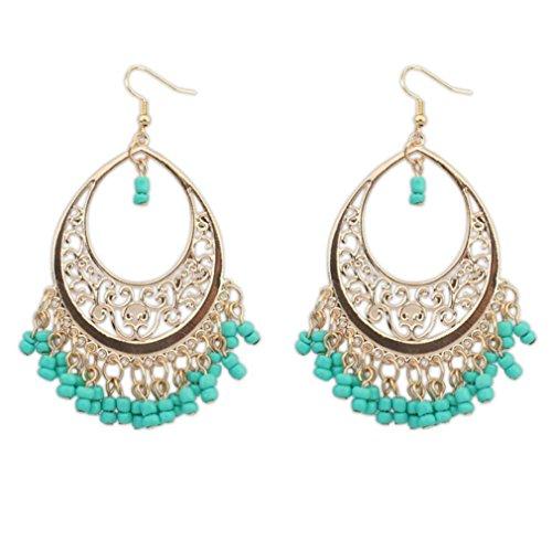 Paymenow Women Girls Bohemian Hollow Out Beads Tassel Hook Dangle Vintage Ethnic Circle Long Earrings (Green)