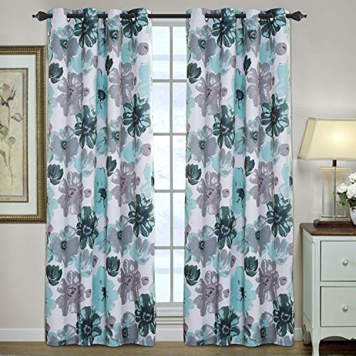 H.VERSAILTEX Window Treatment Curtains for Bedroom Thermal Insulated Blackout Curtains for Living Room, 2 Panels, Vintage Blooming Floral Pattern in Blue and Gray, 52