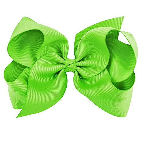 Neon Green Grosgrain Bow Clip - Extra Large Bows with Alligator Clips by CoverYourHair]()