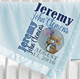 Personalized Baby Blanket (Light Blue - Personalized) Super Soft Micro Plush Fleece with Satin Trim Custom Printed with Name Elephant Giraffe Cute Bear Panda Animal Designs