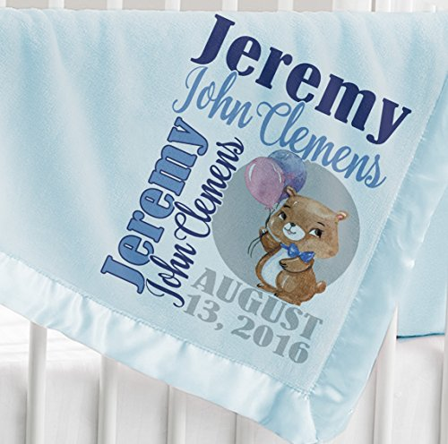Personalized Baby Blanket ( Light Blue - Personalized ) Super Soft Micro Plush Fleece with Satin Trim Custom Printed with Name Elephant Giraffe Cute Bear Panda Animal Designs (Personalized Fleece Blanket)