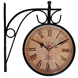 NAAYA'S DECOR Double Sided Analog Vintage Design Wall Clock - Victoria Station 1747 London, DIAL 6