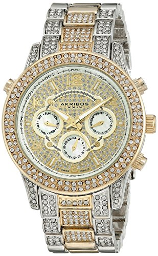 Akribos XXIV Women's AK776TTG Multifunction Swiss Quartz Movement Crystal Encrusted Watch with Yellow Gold Dial and Two Tone Bracelet