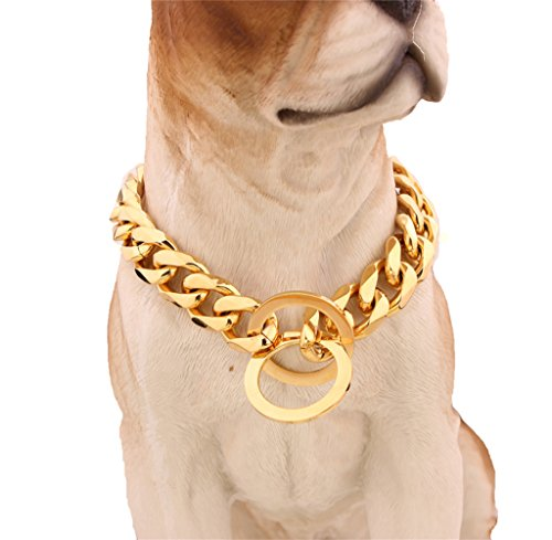 Strong Stainless Steel Curb Cuban Chain Metal Choke Collar Dog Training Collars Necklace Pet Neck Rope 26 inches (15mm Wide) by Sissy Jewelry