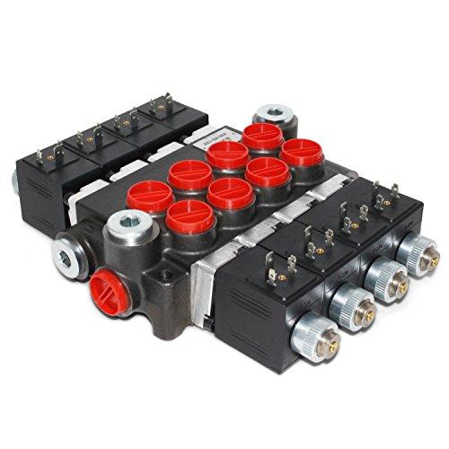 Hydraulic Monoblock Solenoid Directional Control Valve, 4 Spool, 13 GPM, 12V DC ()