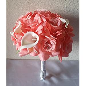 Coral Reef Rhinestone Rose Calla Lily Bridal Wedding Bouquet & Boutonniere 113