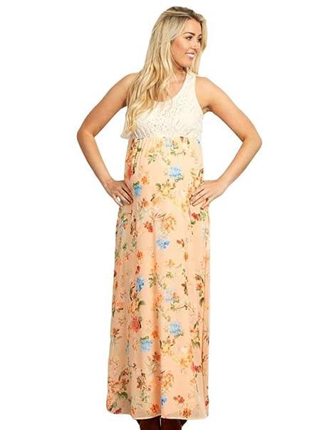 NiSeng Mujeres Impresión De Flores Embarazada Maxi Vestido Embarazadas Fotografía Props Embarazada Trajes De Fotografía Vestido: Amazon.es: Ropa y ...