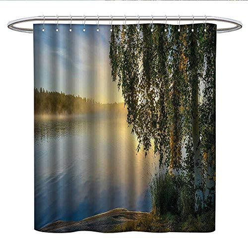 (Anshesix Naturekids Shower curtainSunny Day by Misty Lake with Tree Summer Season Horizon August LandscapeRound Shower Curtain rodFern Green Light Blue)