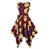 Wellwits Women's Dashiki African Print High Low Asymmetric Vintage Dress 4XL