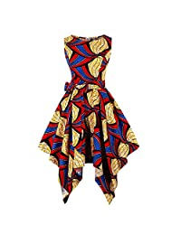 Wellwits Women's Dashiki African Print High Low Asymmetric Vintage Dress
