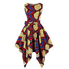 Wellwits Women's Dashiki African Print High Low Asymmetric Vintage Dress