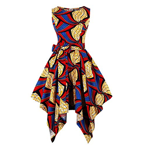 Wellwits Women's Dashiki African Print High Low Asymmetric Vintage Dress 4XL -