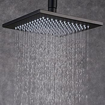 Gentil Ollypulse 12 Inch Square Ceiling Wall Mount Stainless Steel Rain Shower Head,  Oil Rubbed Bronze