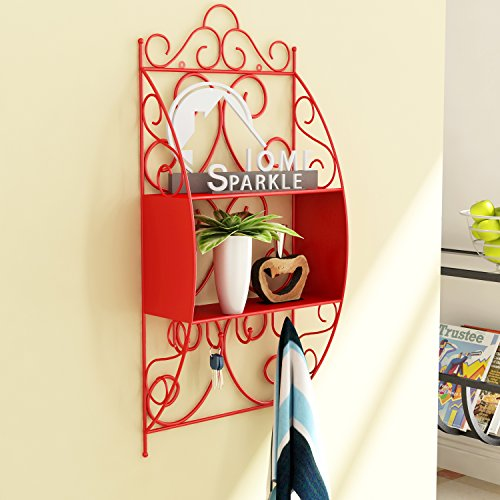 Home Sparkle Wall Shelf W/Key Holder Mild Steel  Red