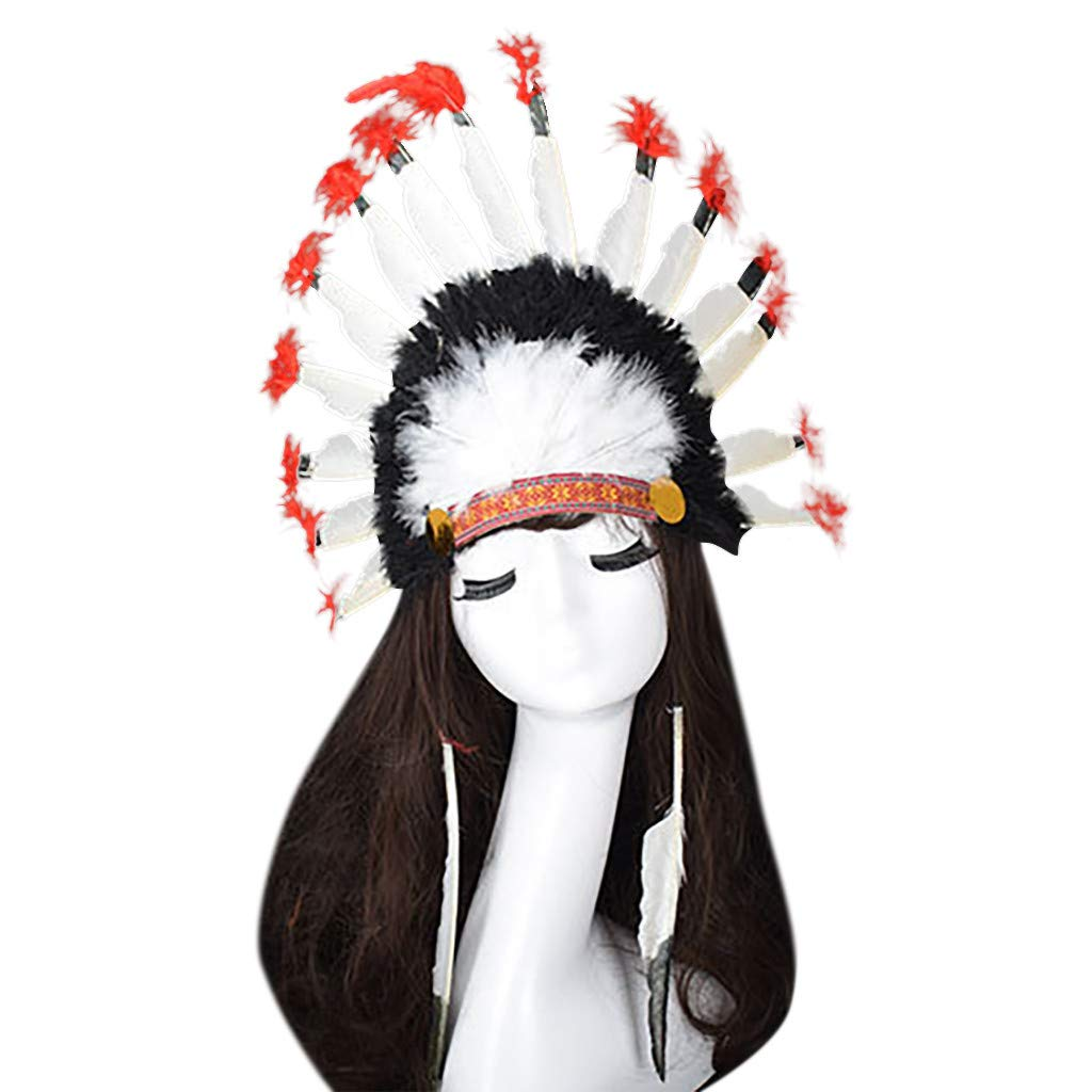 QIGUANDZ Women's Indian Feather Fascinator Headband, Headpieces for Fancy Party, Cocktail Hat