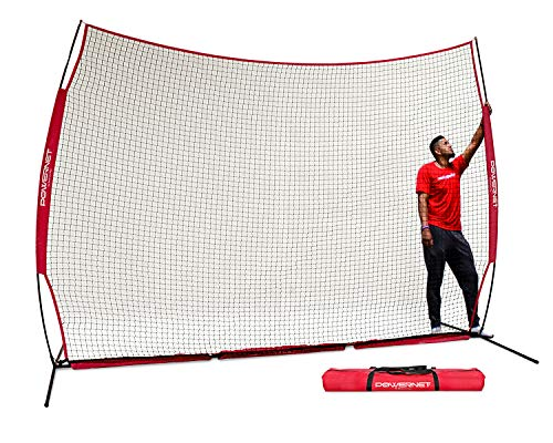PowerNet 12 ft x 9 ft Sports Barrier Net | 108 SqFt of Protection | Safety Backstop | Portable EZ Setup Barricade for Baseball, Lacrosse, Basketball, Soccer, Field Hockey, Softball (Red)