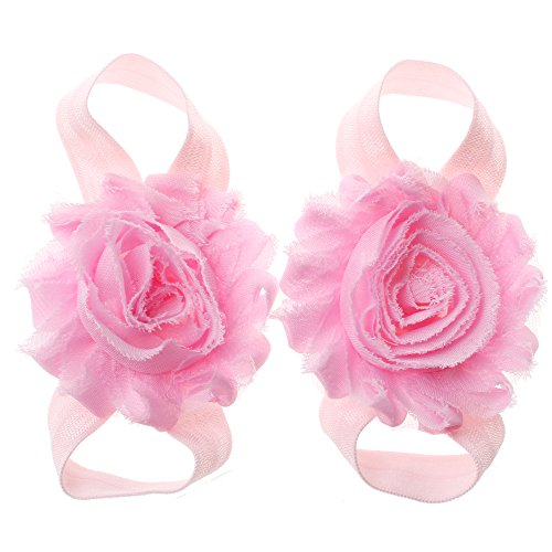 Miugle Baby Cute Pink Shabby Chic Flower Barefoot Sandals for sale  Delivered anywhere in USA