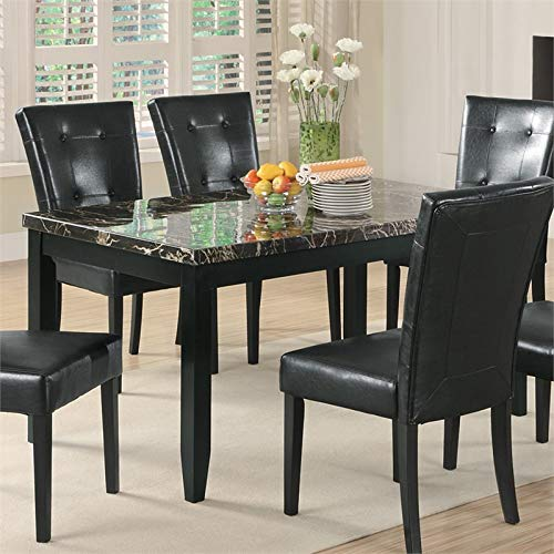 Bowery Hill Faux Stone Top Dining Table In Black Buy Online In Aruba At Aruba Desertcart Com Productid 126773267