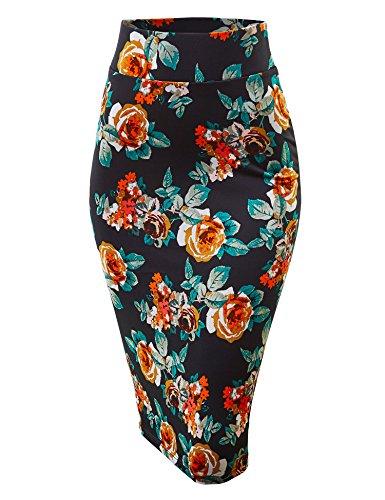 MBJ WB1304 Womens Print Midi Pencil Skirt L GREEN_PINK