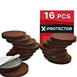 "Furniture Pads for Wood Floors X-PROTECTOR Premium 16 Thick 1/4"" Heavy Duty Felt Furniture Pads 2""! Felt Pads for Heavy Furniture Feet – Best Felts Wood Floor Protectors for NO Scratches Sliders. Protect Your Hardwood Floor!"