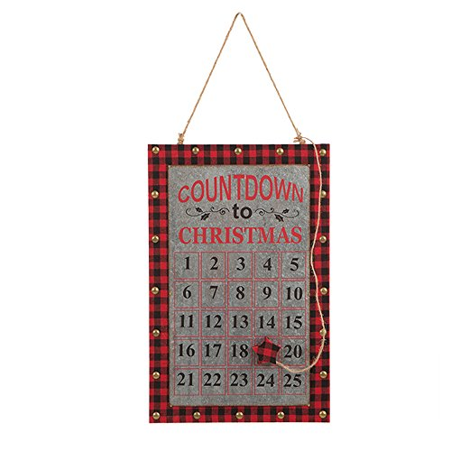 Glitzhome Christmas Handcrafted Countdown Calendar Chalkboard Wall Hanging Sign (12.60