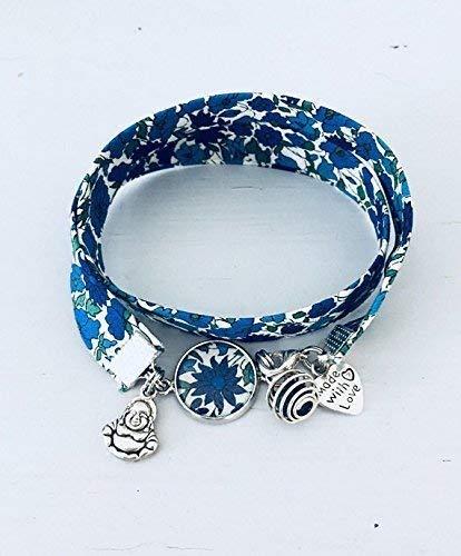 a basso prezzo 782da c8211 Bracciale profumato in tessuto Liberty blu floreale ...