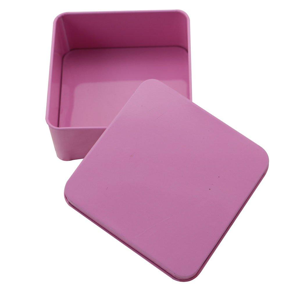 Leisial Bo/îte /à Bonbons Simple Petite Bocaux M/étal Bo/îte de Rangement Carr/é Multifonctionnel pour Th/é Chocolat Biscuits Sucres(Rose)