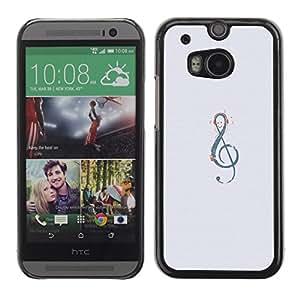 TopCaseStore / la caja del caucho duro de la cubierta de protección de la piel - Grey Music Melody Instrument Musical - HTC One M8