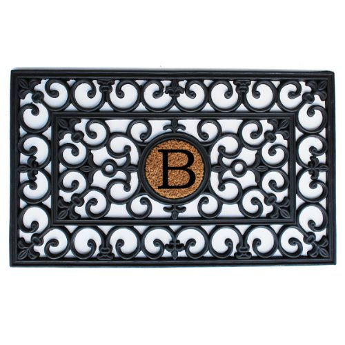 Home and More 100-Percent Rubber Monogrammed Doormat Letter B, 18