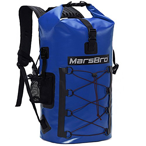 MarsBro Waterproof Backpack Dry Bag 1000D PVC 35L/50L HF Welded Seams Roll-Top Closure for Kayaking, Canoeing, Surfing, River Tracing, Sailing with Waterproof Phone Pouch Blue 50L
