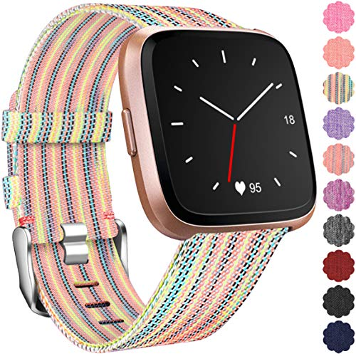 (Maledan Compatible with Fitbit Versa Bands for Women Men, Small, Rainbow Pattern)