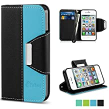 iPhone 4 Case,Vakoo iPhone 4 Flip Cover Premium PU Leather Wallet Credit Card Holder Folio Stand Case for Apple iPhone 4 4S With a Wrist Strap – Black Blue